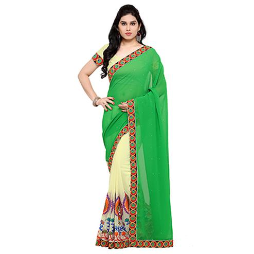 Off White - Green Peacock Design Saree