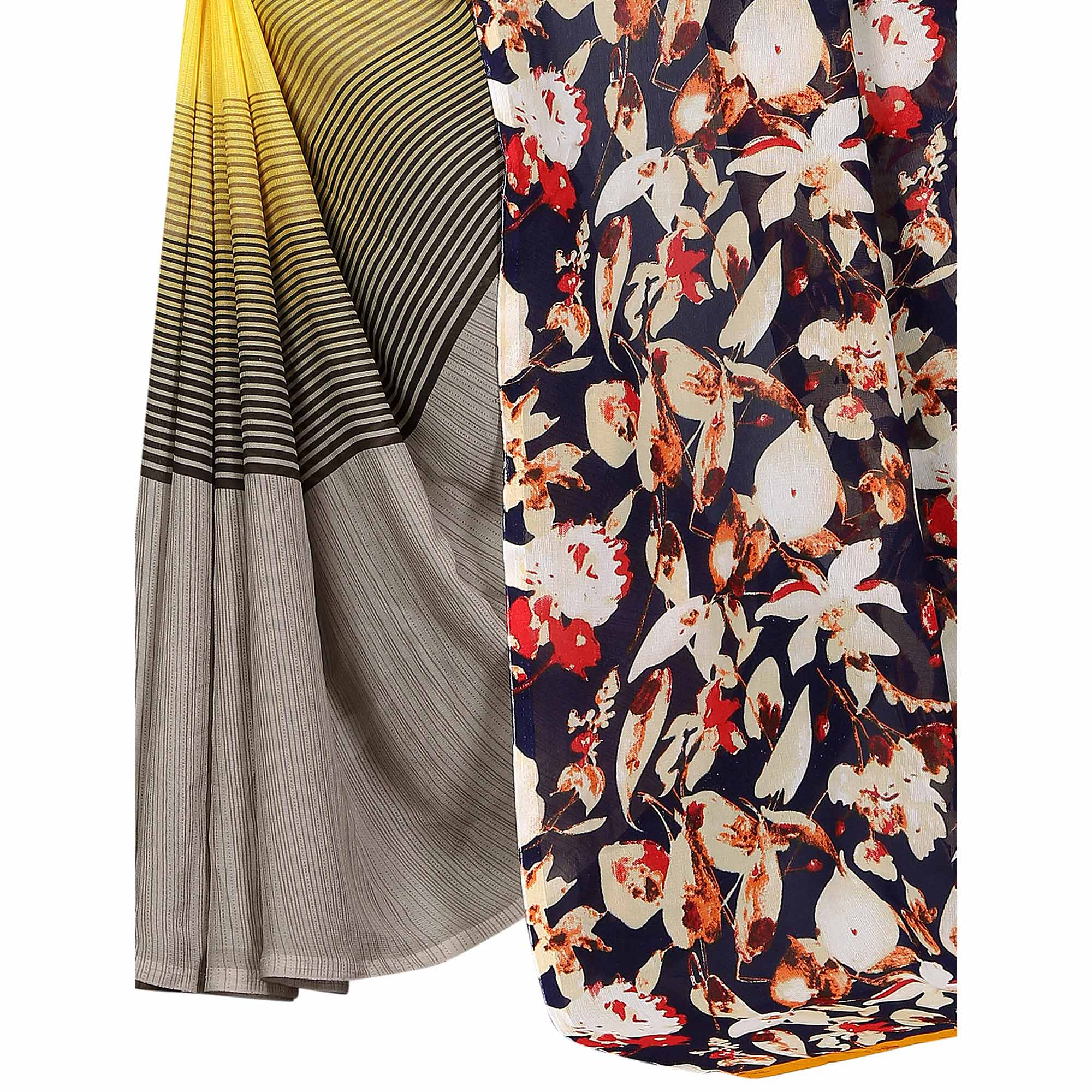 Lovely Yellow Colored Casual Printed Georgette Saree