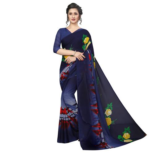 Majesty Navy Blue Colored Casual Printed Georgette Saree