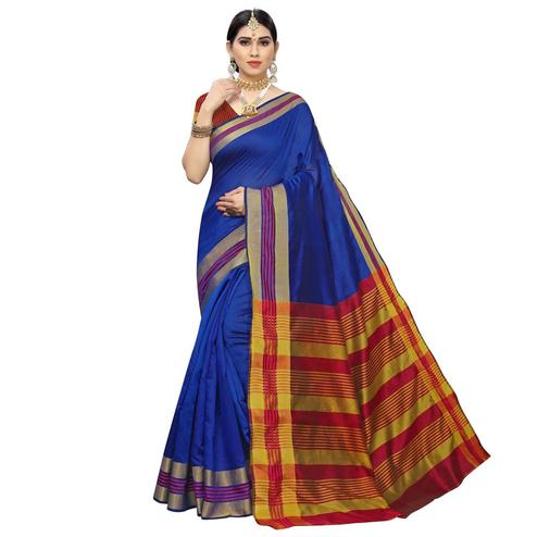 Sophisticated Blue Colored Casual Printed Cotton Silk Saree