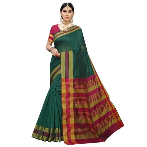 Trendy Green Colored Casual Printed Cotton Silk Saree
