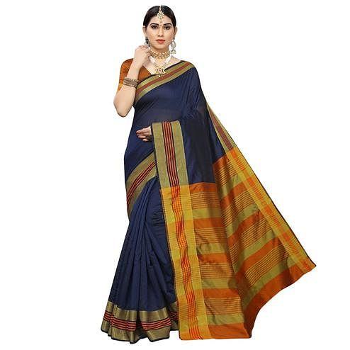 Elegant Navy Blue Colored Casual Printed Cotton Silk Saree