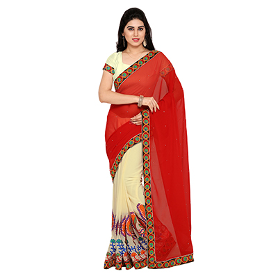 Off White - Red Embroidered Half Saree