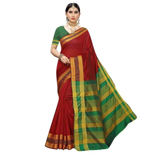 Pleasant Red Colored Casual Printed Cotton Silk Saree