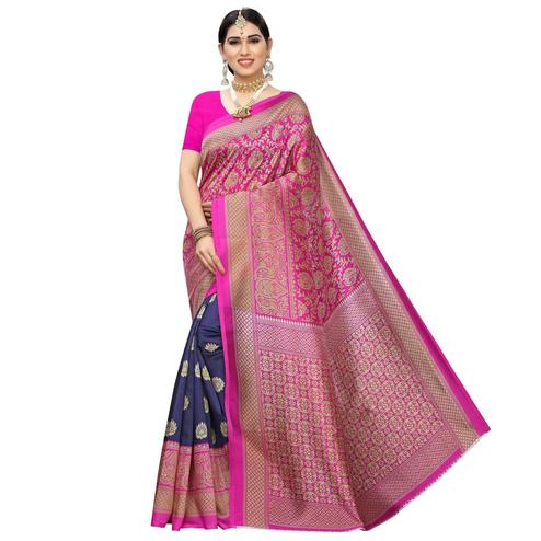 Opulent Navy Blue-Pink Colored Festive Wear Printed Half & Half Art Silk Saree