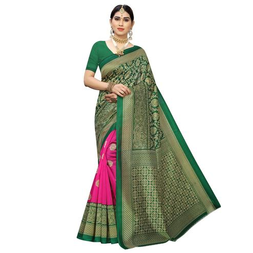 Energetic Pink-Green Colored Festive Wear Printed Half & Half Art Silk Saree