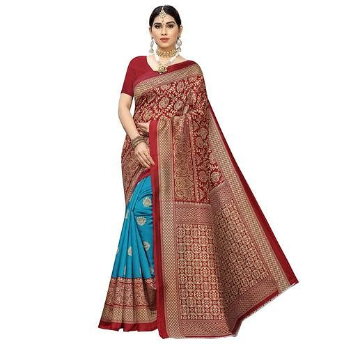 Glowing Sky Blue-Maroon Colored Festive Wear Printed Half & Half Art Silk Saree
