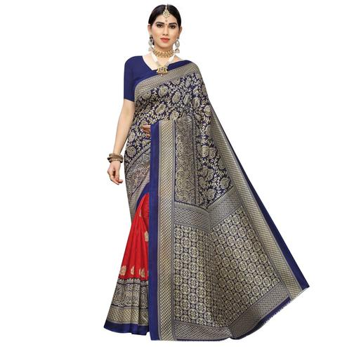 Exceptional Red-Navy Blue Colored Festive Wear Printed Half & Half Art Silk Saree