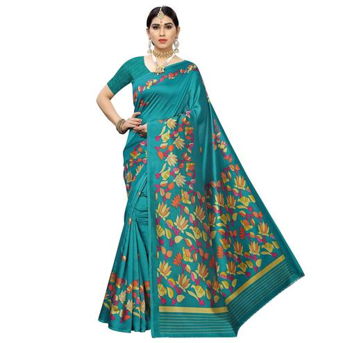 Mesmeric Rama Blue Colored Casual Floral Printed Art Silk Saree