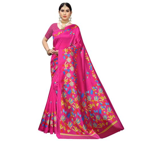 Unique Pink Colored Casual Floral Printed Art Silk Saree