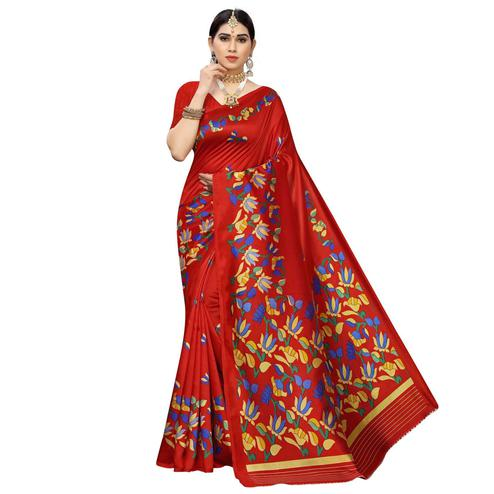 Demanding Red Colored Casual Floral Printed Art Silk Saree