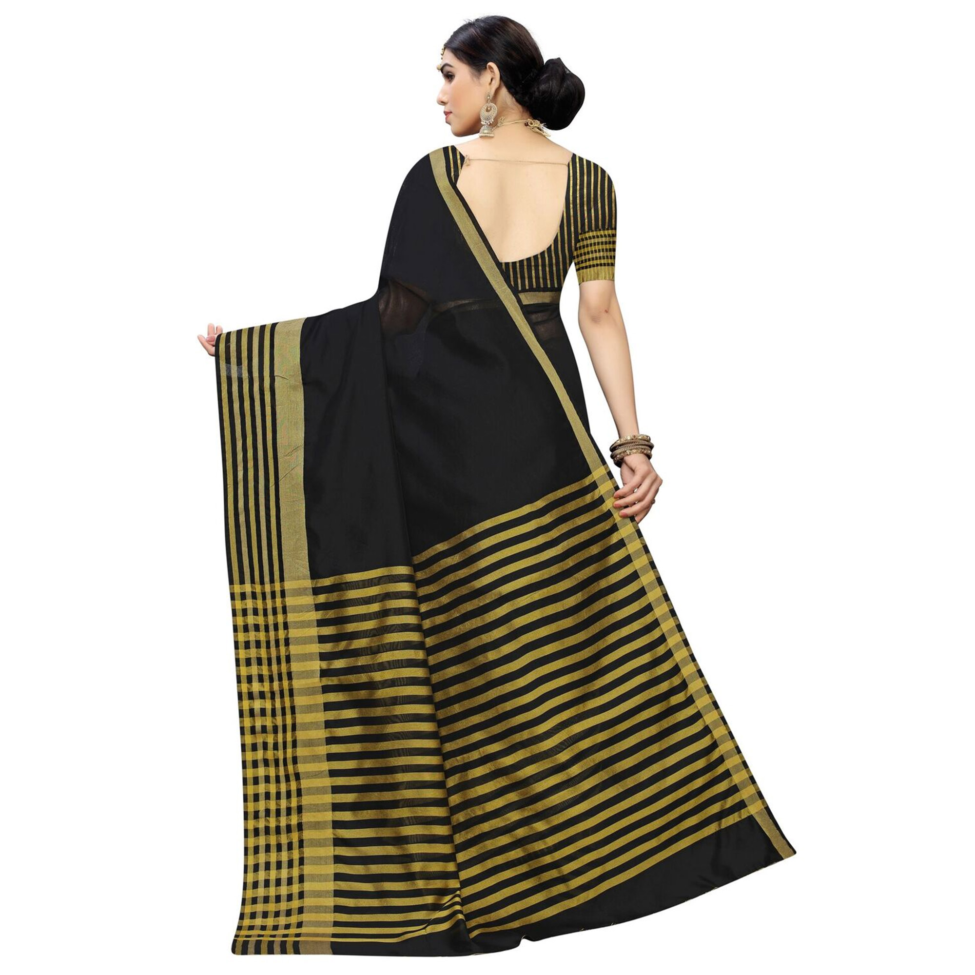 Refreshing Black Colored Casual Printed Cotton Silk Saree