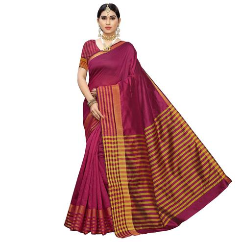 Flattering Pink Colored Casual Printed Cotton Silk Saree