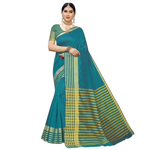 Excellent Rama Blue Colored Casual Printed Cotton Silk Saree