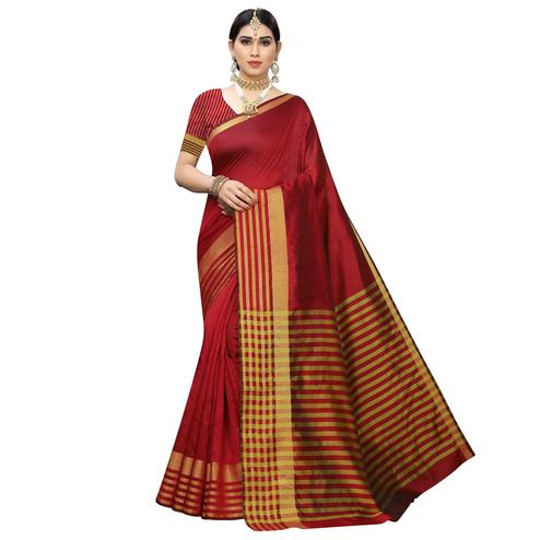 Preferable Red Colored Casual Printed Cotton Silk Saree