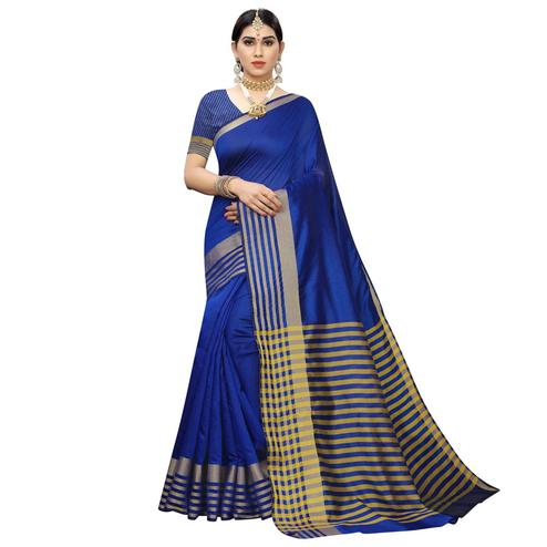 Marvellous Royal Blue Colored Casual Printed Cotton Silk Saree