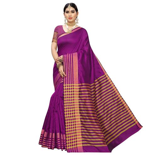 Pretty Purple Colored Casual Printed Cotton Silk Saree