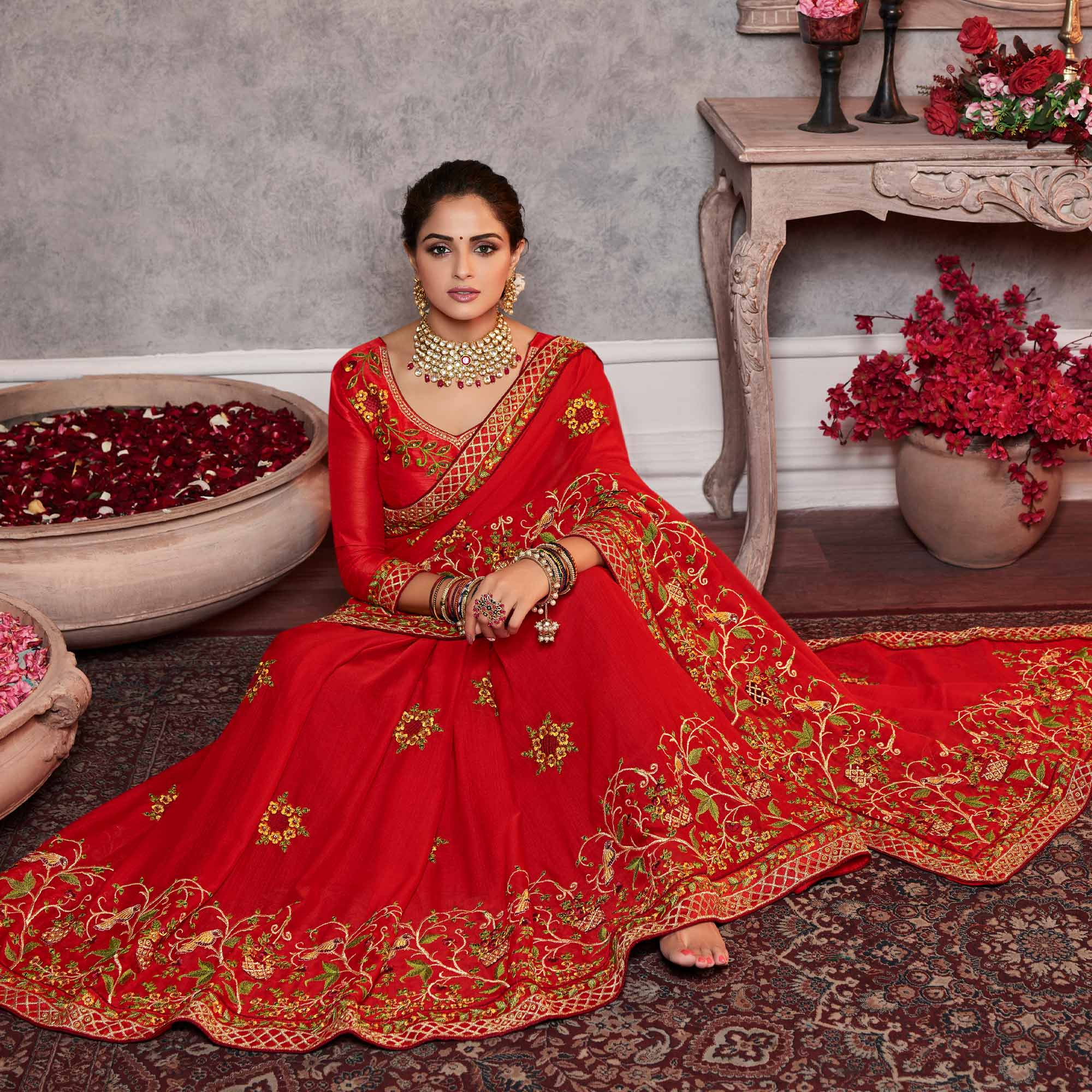 Classy Red Colored Partywear Embroidered Silk Saree