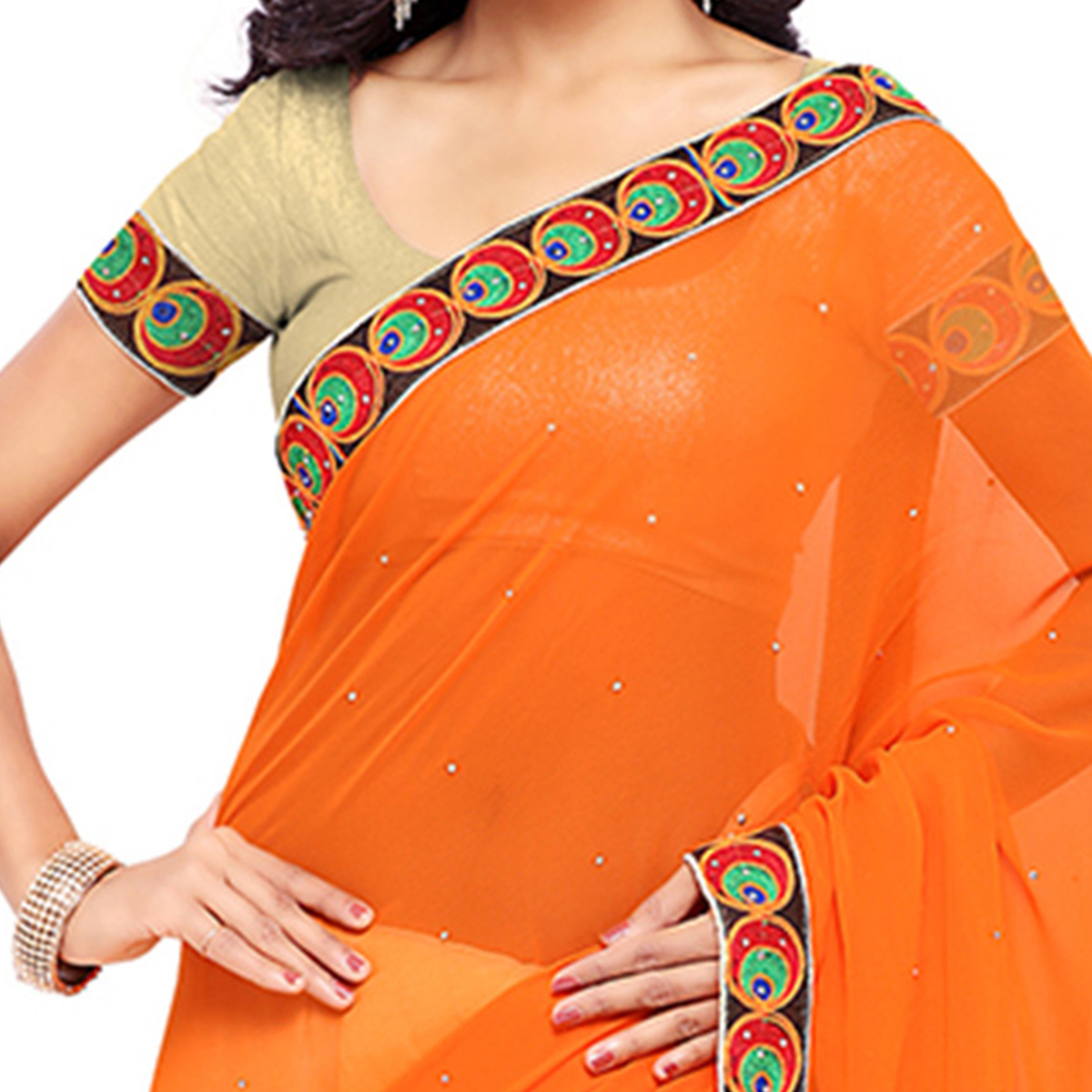 Off White - Orange Georgette Half Saree