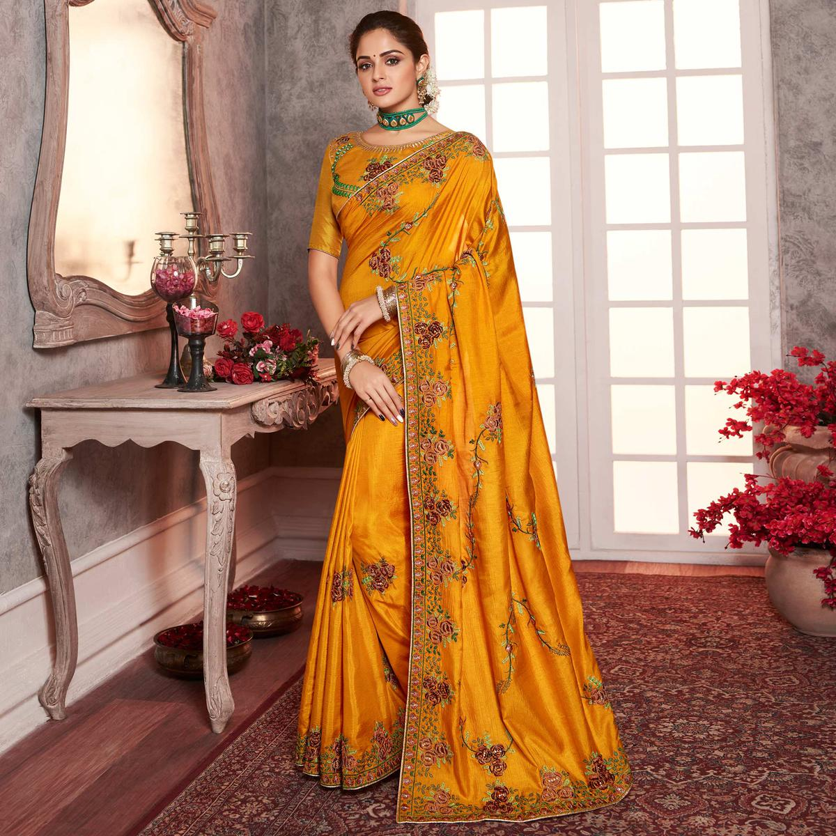Capricious Yellow Colored Partywear Embroidered Silk Saree