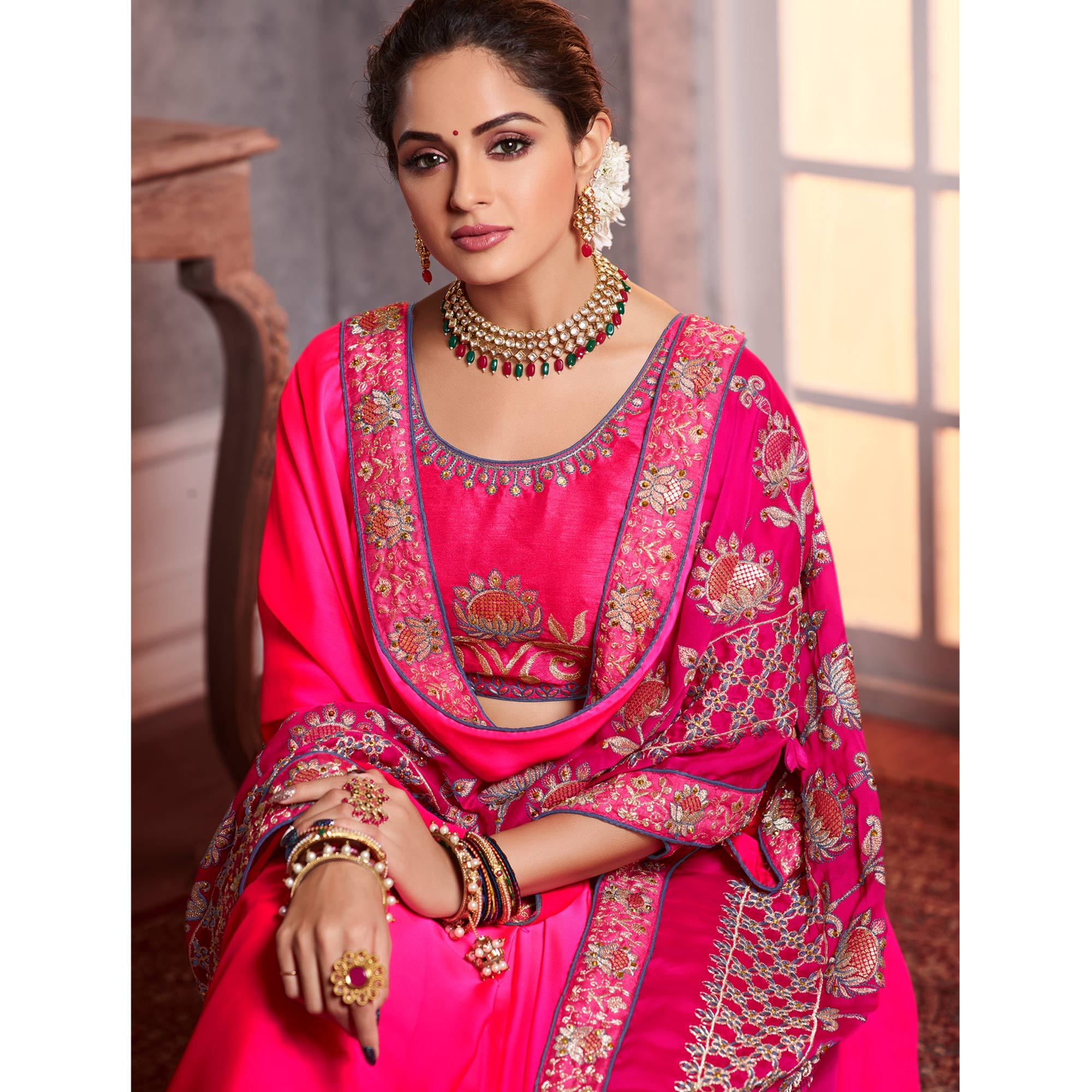 Entrancing Pink Colored Partywear Embroidered Silk Saree