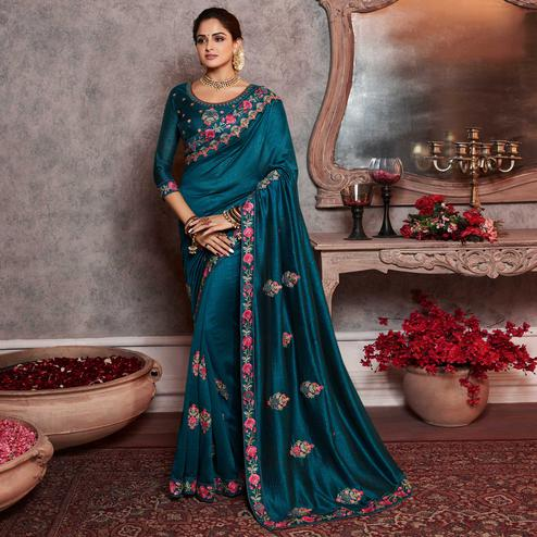 Groovy Peacock Blue Colored Partywear Embroidered Silk Saree