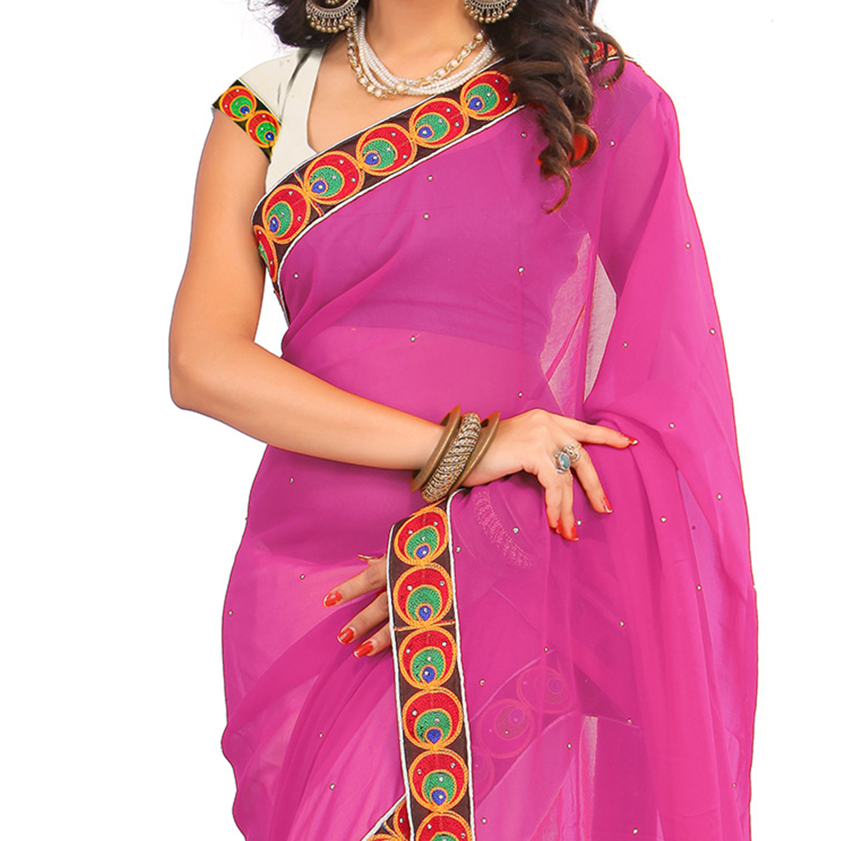 Off White - Magenta Embroidered Saree