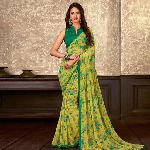 Adorable Yellow Colored Casual Wear Floral Printed Georgette Saree