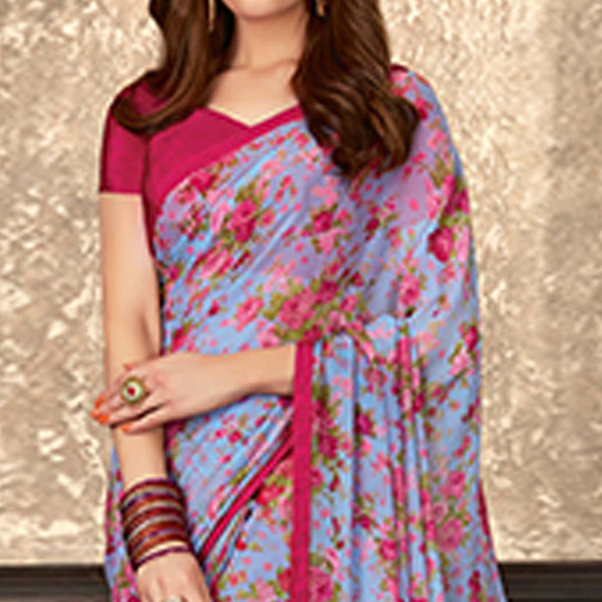 Glorious Blue Colored Casual Wear Floral Printed Georgette Saree