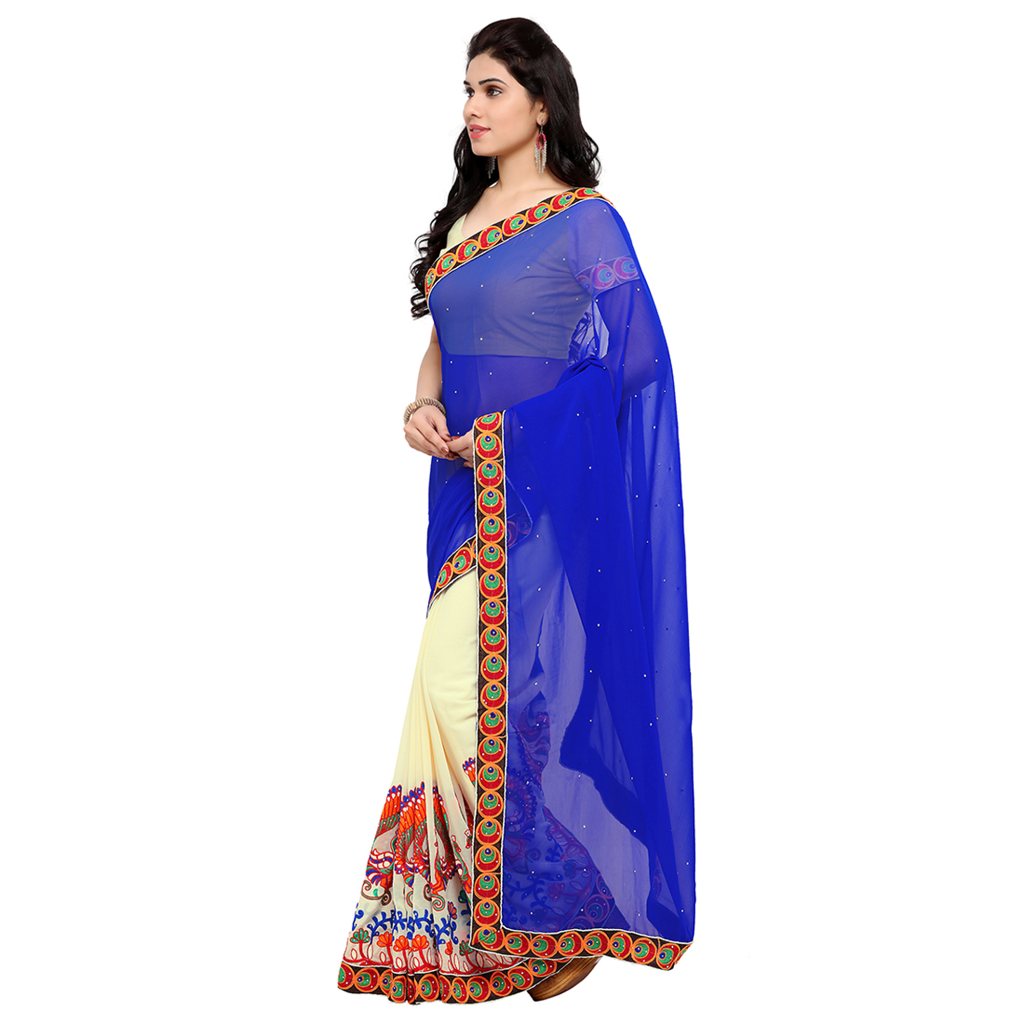 Off White - Blue Party Wear Saree