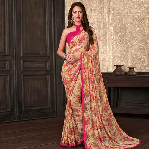 Graceful Beige-Pink Colored Casual Wear Floral Printed Georgette Saree