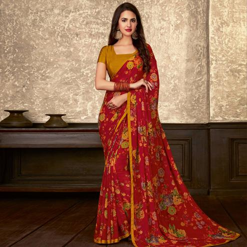 Jazzy Magenta Pink Colored Casual Wear Floral Printed Georgette Saree
