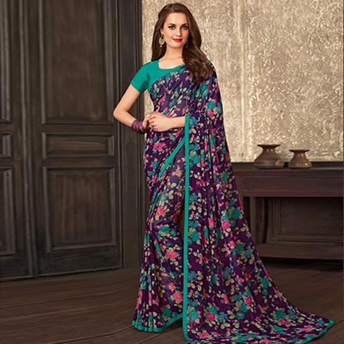 Delightful Blue Colored Casual Wear Floral Printed Georgette Saree
