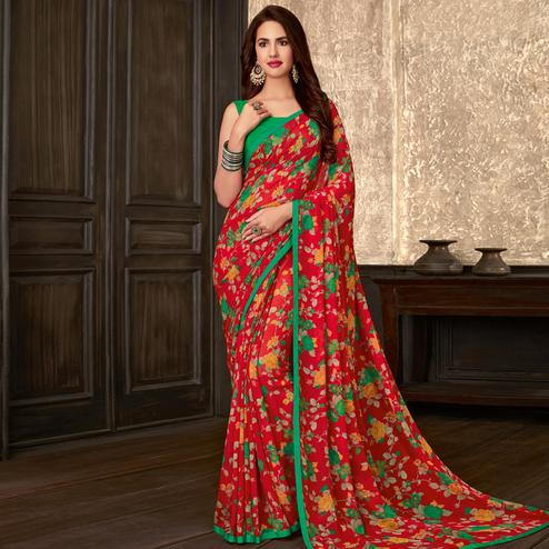 Engrossing Red Colored Casual Wear Floral Printed Georgette Saree