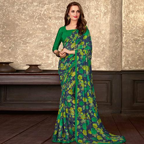 Captivating Blue-Green Colored Casual Wear Floral Printed Georgette Saree