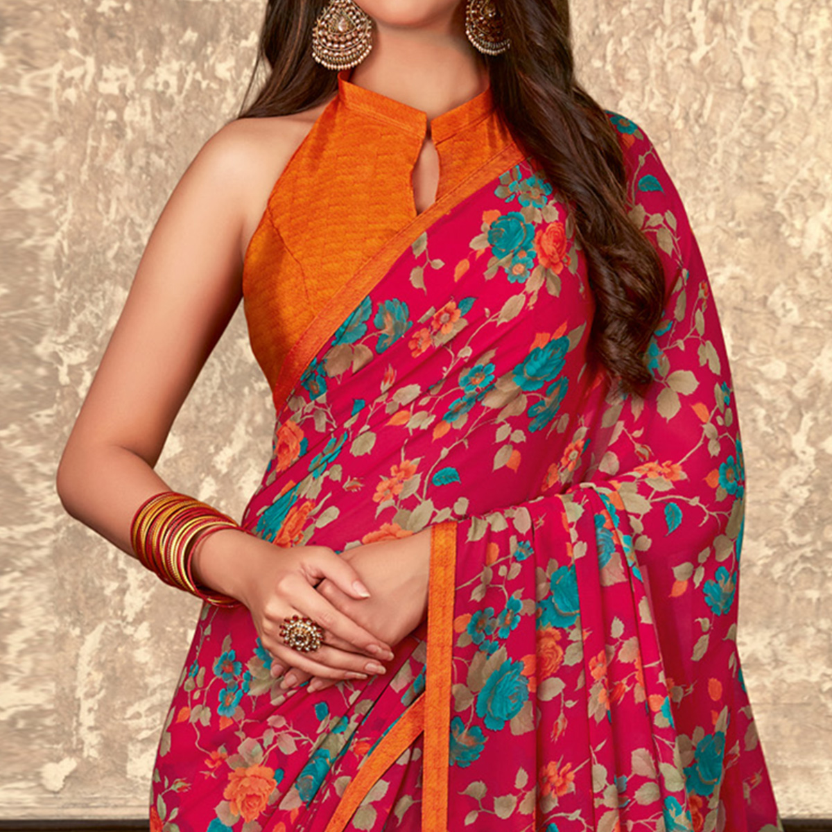 Amazing Pink Colored Casual Wear Floral Printed Georgette Saree