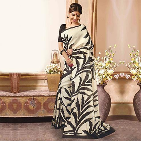 Off White Floral Print Work Saree