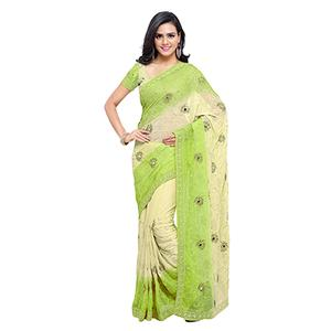 Green - Off White Embroidered Saree
