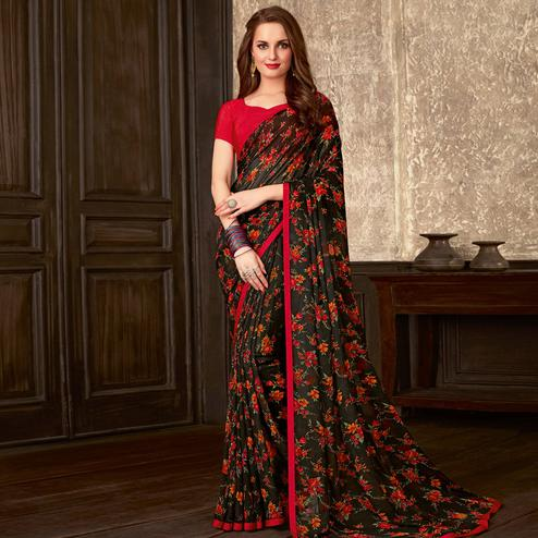 Blissful Black-Red Colored Casual Wear Floral Printed Georgette Saree