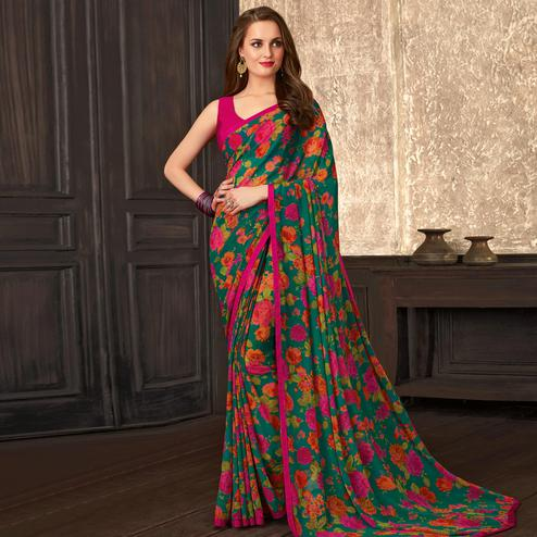 Ideal Green Colored Casual Wear Floral Printed Georgette Saree