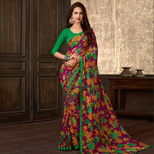 Imposing Purple Colored Casual Wear Floral Printed Georgette Saree