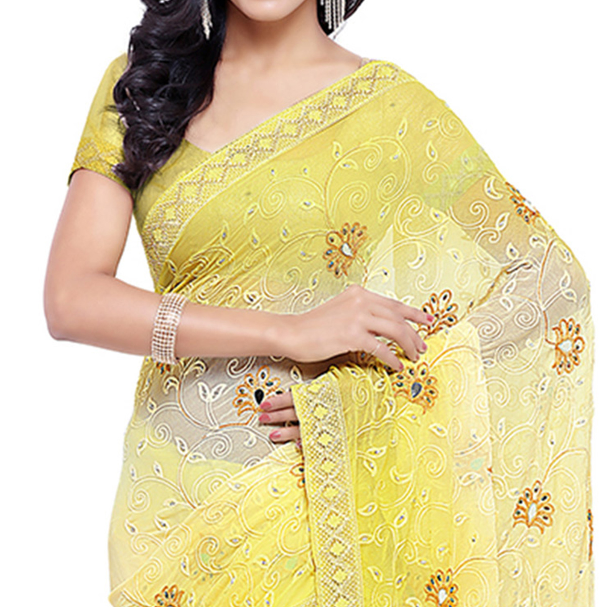 Cream - Yellow Party Wear Chiffon Saree