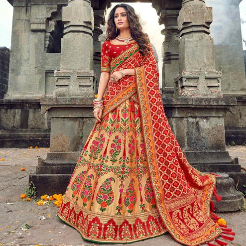 Innovative Red-Beige Colored Partywear Woven Silk Lehenga Choli
