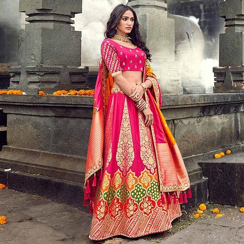 Fantastic Pink Colored Partywear Woven Silk Lehenga Choli