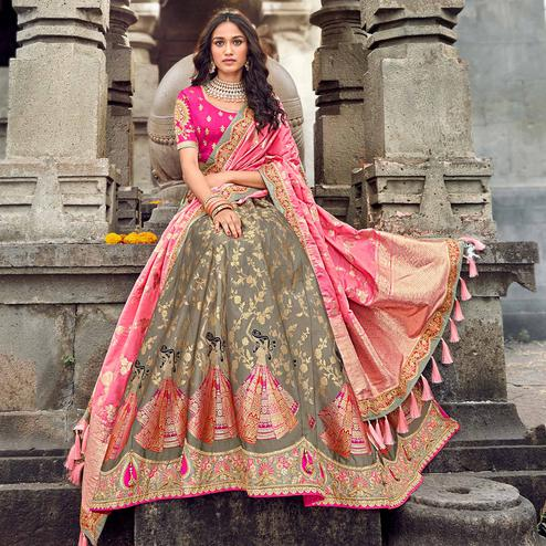 Gorgeous Grey-Pink Colored Partywear Woven Silk Lehenga Choli