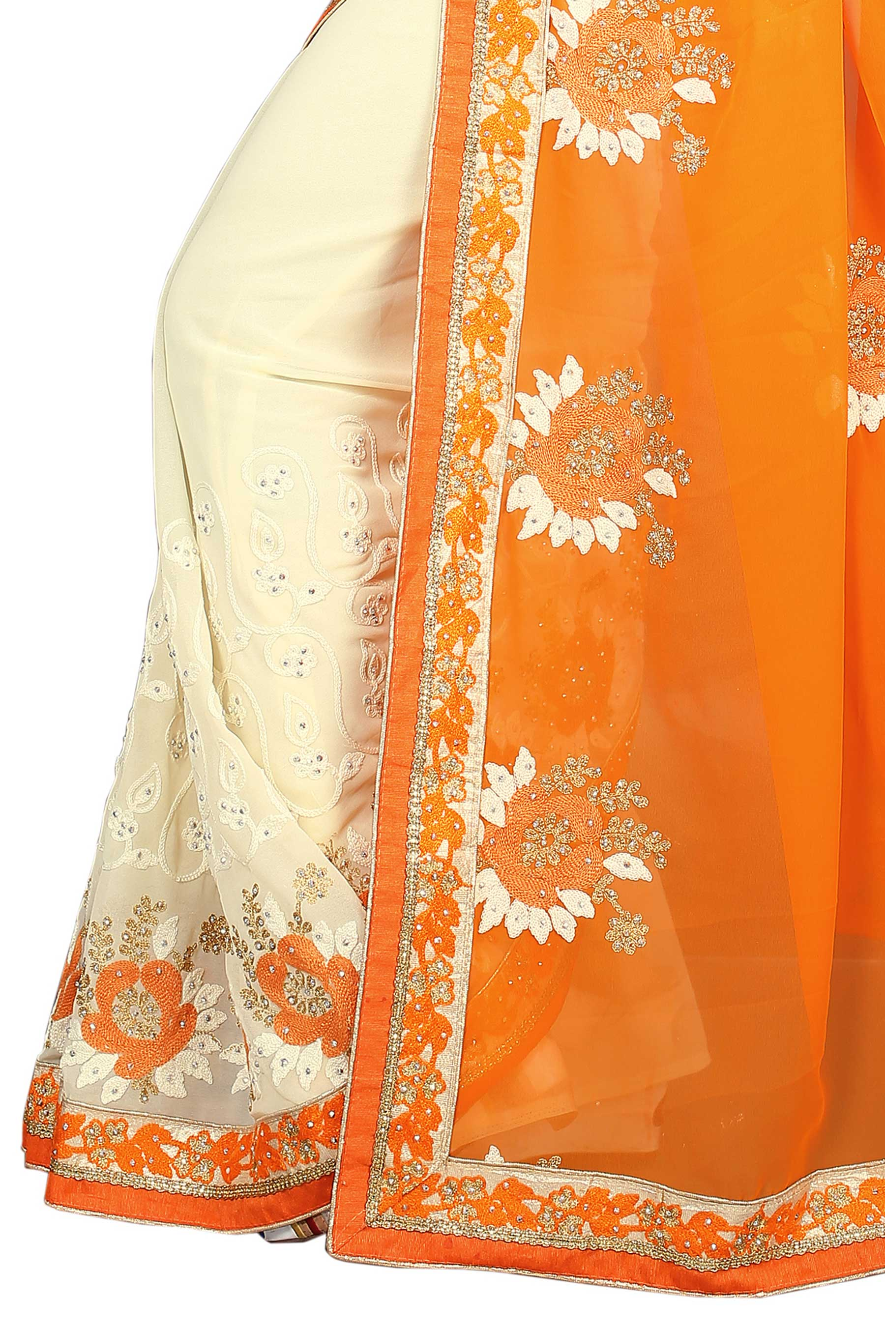 Cream - Orange Half & Half Saree