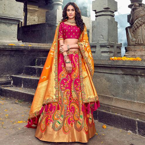 Lovely Pink-Yellow Colored Partywear Woven Silk Lehenga Choli