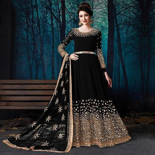 Prominent Black Colored Partywear Embroidered Georgette Anarkali Suit
