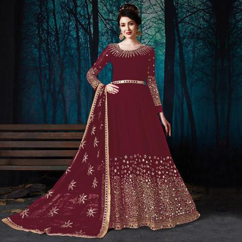 Appealing Maroon Colored Partywear Embroidered Georgette Anarkali Suit