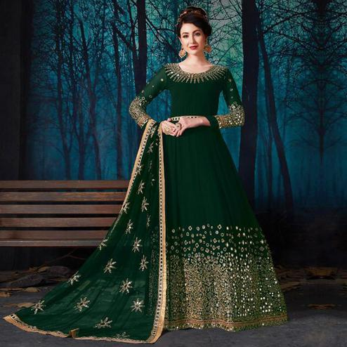 Capricious Green Colored Partywear Embroidered Georgette Anarkali Suit